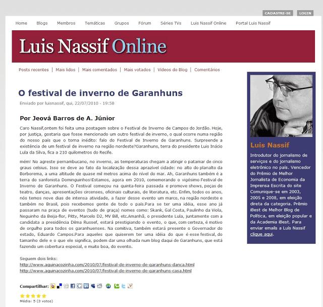 Luís Nassif (@luisnassif) publica post sobre o Festival de Inverno de Garanhuns com os links do Aqui na Cozinha