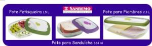 Sorteio de três potes plásticos da Sanremo