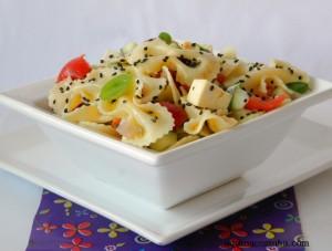 Salada Primavera Com Farfalle mostrada no hangout do Google + Restaurant Week