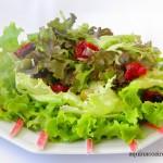 Salada de folhas com kani e um toque de gengibre. Vem chegando o verão…
