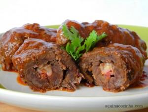 Bife Rolê com Queijo Coalho e Bacon