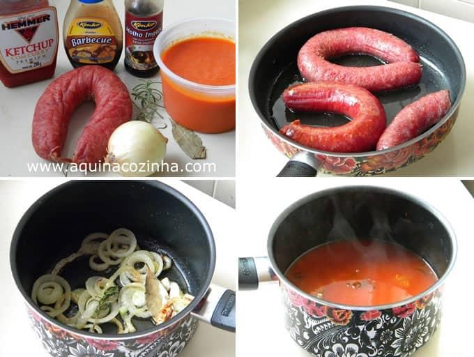 Linguiça Blumenau com Molho Especial (tipo Currywurst)
